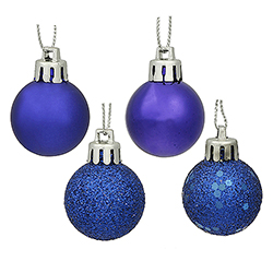 1 Inch Cobalt Blue Ornaments - Assorted Finishes - Box Of 18