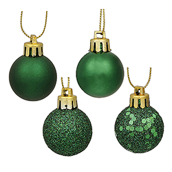 1 Inch Emerald Ornaments - Assorted Finishes - Box Of 18