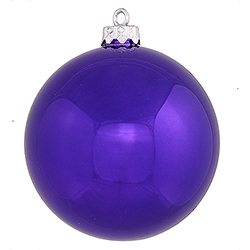 2.4 Inch Purple Shiny Finish Round Christmas Ball Ornament Shatterproof UV