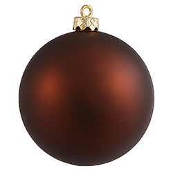 2.4 Inch Mocha Matte Finish Round Christmas Ball Ornament Shatterproof UV