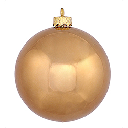 2.4 Inch Mocha Shiny Finish Round Christmas Ball Ornament Shatterproof UV