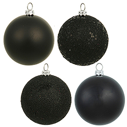 60MM Black Ornament Assorted Finishes Set Of 24