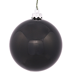 2.4 Inch Black Shiny Round Ornament Box of 6