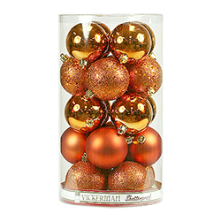 60MM Burnish Orange Ornament Assorted Finishes Set Of 24