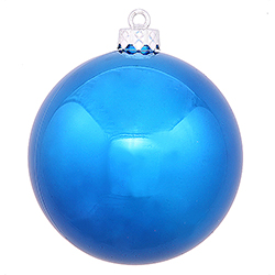 2.75 Inch Blue Shiny Finish Round Christmas Ball Ornament Shatterproof UV 6 per Set