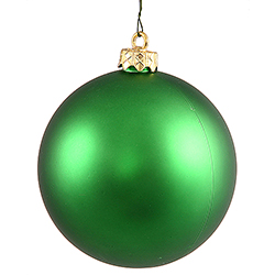 2.75 Inch Green Matte Finish Round Christmas Ball Ornament Shatterproof UV 6 per Set