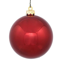 2.75 Inch Burgundy Shiny Round Ornament Box of 12