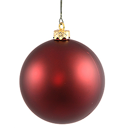 2.75 Inch Burgundy Matte Finish Round Christmas Ball Ornament Shatterproof UV 6 per Set