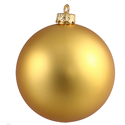 2.75 Inch Gold Matte Finish Round Christmas Ball Ornament Shatterproof UV 6 per Set