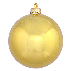 2.75 Inch Gold Shiny Finish Round Christmas Ball Ornament Shatterproof UV 6 per Set