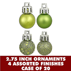 70MM Assorted Lime Green Plastic Ornament Set Of 20