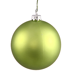 2.75 Inch Lime Green Matte Finish Round Christmas Ball Ornament Shatterproof UV 6 per Set