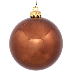 2.75 Inch Chocolate Brown Shiny Finish Round Christmas Ball Ornament Shatterproof UV 6 per Set