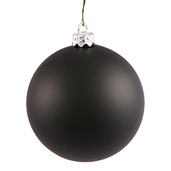 2.75 Inch Black Matte Finish Round Christmas Ball Ornament Shatterproof UV 6 per Set