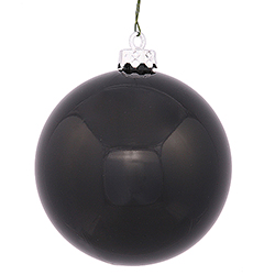 2.75 Inch Black Shiny Finish Round Christmas Ball Ornament Shatterproof UV 6 per Set