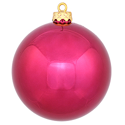 2.75 Inch Wine Shiny Finish Round Christmas Ball Ornament Shatterproof UV 6 per Set