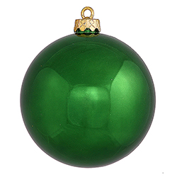 2.75 Inch Emerald Green Shiny Finish Round Christmas Ball Ornament Shatterproof UV 6 per Set