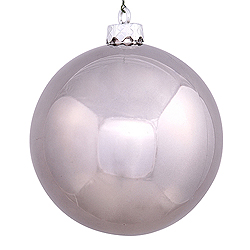 2.75 Inch Pewter Silver Shiny Finish Round Christmas Ball Ornament Shatterproof UV 6 per Set