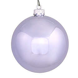 2.75 Inch Lavender Shiny Finish Round Christmas Ball Ornament Shatterproof UV 6 per Set
