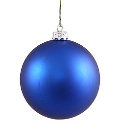 3 Inch Blue Matte Round Ornament 12 per Set