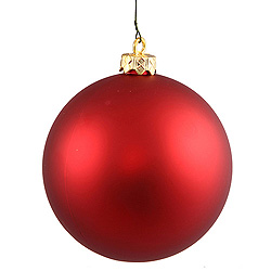 3 Inch Red Matte Round Ornament 12 per Set