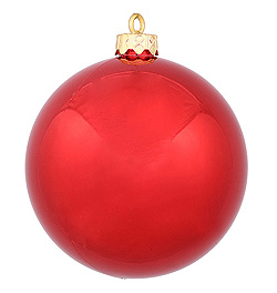 3 Inch Red Shiny Round Ornament 12 per Set