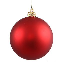 3 Inch Red Matte Finish Round Christmas Ball Ornament Shatterproof UV 4 per Set
