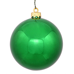 3 Inch Green Shiny Round Ornament 12 per Set