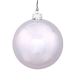 3 Inch Silver Shiny Round Ornament 12 per Set