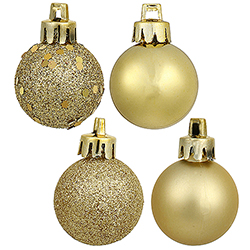 3 Inch Gold Ornament Assorted Finishes Set Of 16