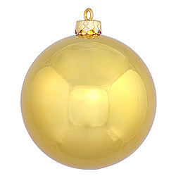 3 Inch Gold Shiny Round Ornament Box of 12
