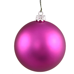 3 Inch Magenta Matte Finish Round Christmas Ball Ornament Shatterproof UV 4 per Set