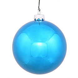 3 Inch Turquoise Shiny Finish Round Christmas Ball Ornament Shatterproof UV 4 per Set