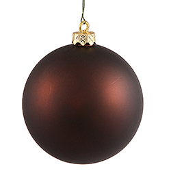 3 Inch Chocolate Brown Matte Finish Round Christmas Ball Ornament Shatterproof UV 4 per Set
