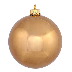 3 Inch Mocha Shiny Round Ornament 12 per Set
