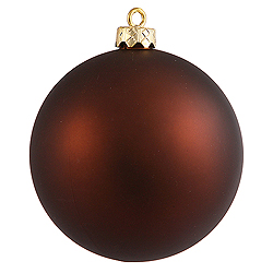 3 Inch Mocha Matte Finish Round Christmas Ball Ornament Shatterproof UV 4 per Set