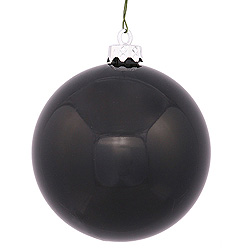 3 Inch Black Shiny Round Ornament 12 per Set