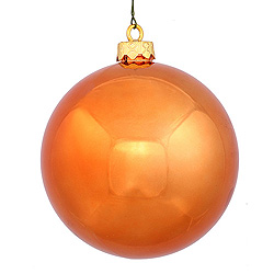 3 Inch Burnish Orange Shiny Round Ornament 12 per Set