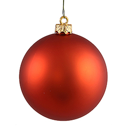3 Inch Burnish Orange Matte Finish Round Christmas Ball Ornament Shatterproof UV 4 per Set