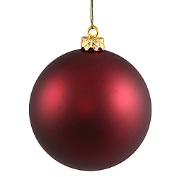 3 Inch Wine Matte Finish Round Christmas Ball Ornament Shatterproof UV 4 per Set