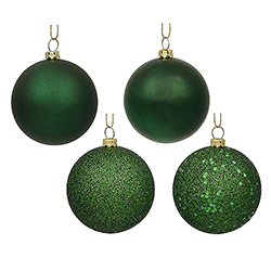 3 Inch Emerald Ornament Assorted Finishes Set Of 16