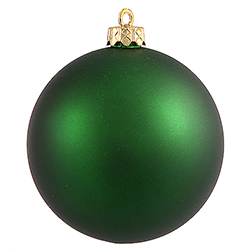 3 Inch Emerald Green Matte Finish Round Christmas Ball Ornament Shatterproof UV 4 per Set