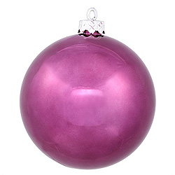 3 Inch Plum Shiny Round Ornament 12 per Set