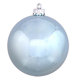 3 Inch Baby Blue Shiny Round Ornament 12 per Set