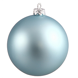 3 Inch Baby Blue Matte Finish Round Christmas Ball Ornament Shatterproof UV 4 per Set