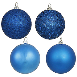 4 Inch Blue Assorted Finishes Round Christmas Ball Ornament 12 per Set