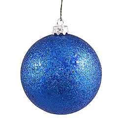 4 Inch Blue Sequin Round Ornament 6 per Set