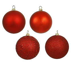 4 Inch Red Assorted Finishes Round Christmas Ball Ornament 12 per Set