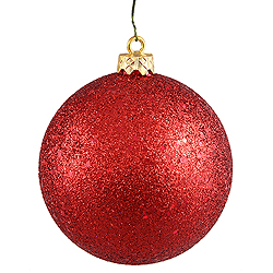 4 Inch Red Sequin Round Ornament 6 per Set