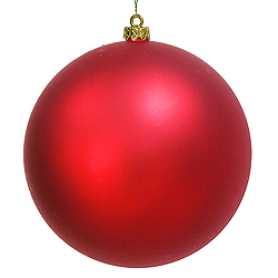 4 Inch Red Shiny Round Ornament 6 per Set